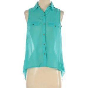 Eyelash Couture Blue Green Sleeveless Blouse